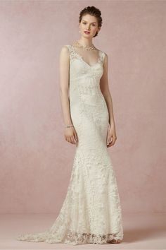 Elegant 2014 Free Shipping Vestidos de Noivas Ivory Lace Mermaid Bridal Gowns Wedding Dresses Online $181.37