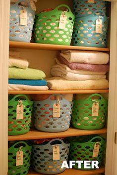 $10 linen closet redo -Love how she organized her linen closet on a budget!