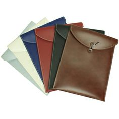 Nice for a press kit or promo piece: Leather Button & String Envelopes from Jam Paper
