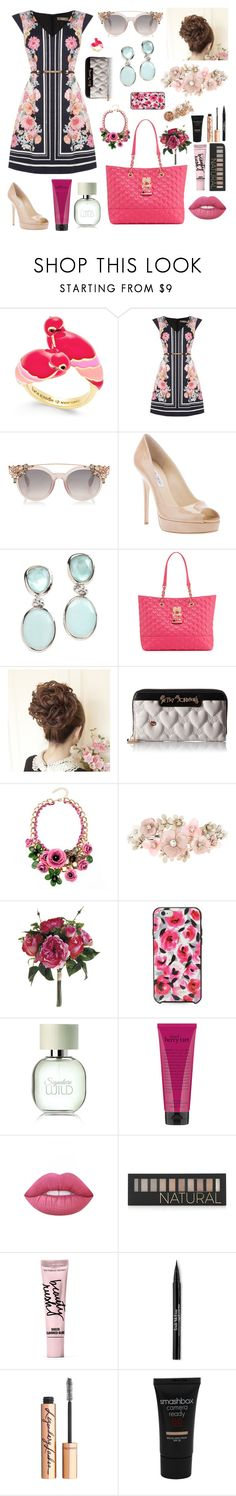 """""""Japanese Cherry Blossum"""" by oliviagsu ❤ liked on Polyvore featuring Kate Spade, Oasis, Jimmy Choo, Rina Limor, Betsey Johnson, Accessorize, philosophy, Lime Crime, Forever 21 and Beauty Rush"""