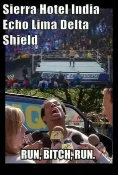 What everyone thought when they heard the shield entrance music. Funny Wrestling, Wwe Funny, Watch Wrestling, Funny Memes, Hilarious, Wwe Quotes, Wwe Dean Ambrose, Wwe Seth Rollins, Wwe Pictures