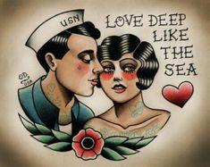 Old fashioned man and woman tattoo Dear John seine & ihr von ParlorTattooPrints auf Etsy
