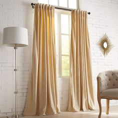 """Pier 1 Imports Velvet Damask 84"""" Curtain ($40) ❤ liked on Polyvore featuring home, home decor, window treatments, curtains, champagne, tab curtains, velvet drapery, damask window curtains, pier 1 imports and tab window curtains"""