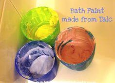 Sun Hats & Wellie Boots: Simple Homemade Bath Paint - Using Talcum Powder