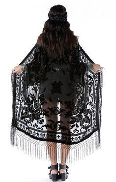 boho black burnout kimono   Home > Products > Moon Chaser Brocade Velvet Burnout Fringe Kimono