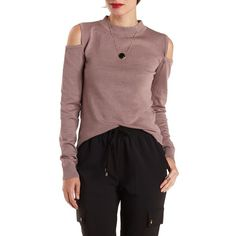 Charlotte Russe Mauve Cold Shoulder Mock Neck Sweater by Charlotte... ($25) ❤ liked on Polyvore featuring tops, sweaters, mauve, mock turtleneck sweater, ribbed turtleneck, ribbed sweater, mock neck top and cut out shoulder sweater