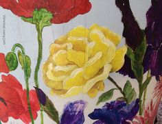 I painted this yellow rose in honor of my grandmother who loved Lady Banks climbing roses. Rain Barrel, Climbing Roses, Yellow Roses, Banks, Graphic Design, Lady, Flowers, Projects, Painting