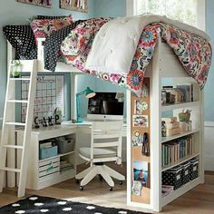 Bed, desk, shelves