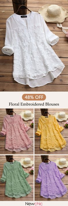 Gracila Patchwork Floral Embroidered Irregular Vintage Blouses look not only special, but also they always show ladies' glamour perfectly and bring surprise. Come to NewChic to choose the best one for yourself! Designer Kurtis, Designer Dresses, Blouse Vintage, Vintage Dresses, Pretty Outfits, Cute Outfits, Mode Hijab, Mode Style, Indian Wear