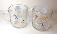 1984 Olympics Glass Mugs Los Angeles Set of 2 by TimeEnoughAtLast