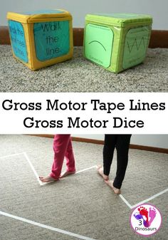 Free Gross Motor Tape Lines Gross Motor Dice - 3 line types and 6 line walking activities to do - Motor Skills Activities, Movement Activities, Music Activities, Gross Motor Skills, Toddler Activities, Carnival Activities, Physical Activities, Toddler Learning, Preschool Learning