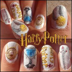 harry potter nails 2 by ~JawsOfKita-LoveHim on deviantART  Loved this, with the Time Turner just watch that your colors don't run together