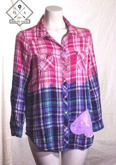 Women's button down w sewn on heart. $22.00 #wearableart #fashion #style #shirt original #heart #bleacheddyed #plaid