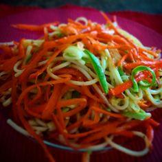 Pastas, zucchini y zanahorias