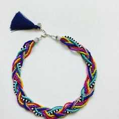 Gökkuşağı renkli kolye Bead Jewellery, Beaded Jewelry, Jewelery, Necklace Tutorial, Diy Necklace, Handmade Beads, Handmade Jewelry, Diy Accessoires, Bead Crochet Rope