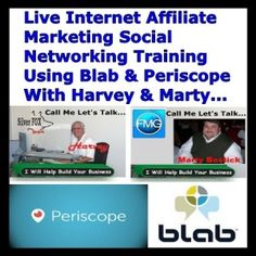 Live Internet Affiliate Marketing Social Networking Training… Using Blab & Twitter Periscope Join Harvey The Silver Fox & Marty Bostick for Live Internet Affiliate Marketing Social Networking Training. They will be training for Joint Ventures, Business Building Tips, Affiliate Income Tips, Mobile Marketing, SEO Optimization, Video Marketing, Email Marketing, Directory Listing Optimization, Google Listing Optimization, […]