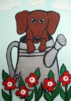 """ACEO ATC Dog Flowers """"Dachshund in the Watering Can"""" Art Original Folk Art Painting Ellison"""