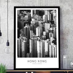 Φωτογραφία του κέντρου του Χονγκ Κονγκ με τη σειρά από τους ουρανοξύστες σε ασπρόμαυρο poster με περιγραφή. #cityposter #mapposter #HongKongposter #πόλητουΧονγκΚονγκ #HongKongcitycenter