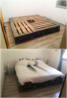 A unique pallet bed frame idea is all visible here for you that is creatively being adjusted with the pallet stacking in simple variation form. A much simple designing sort of work has been carried out here where the headboard is not being offered over it but still it look majestic.