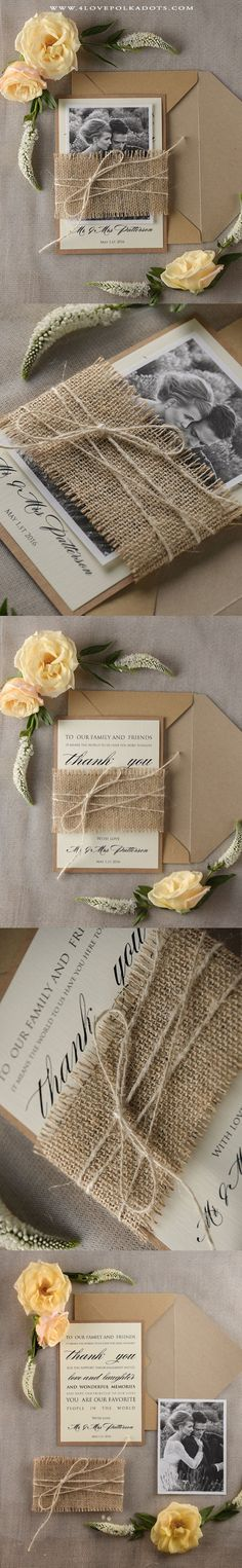 Rustic Wedding Thank You Card - Burlap & Twine #romanticwedding…