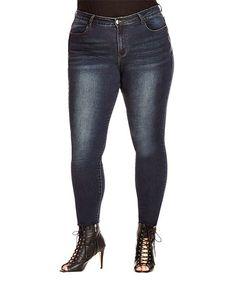 Dark Denim Distressed Side-Zip Skinny Jeans - Plus