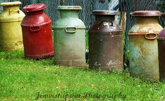Milk Cans vintage milk cans in a row by Jemvistaprint on Etsy, $25.00