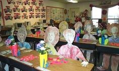 """Back to School night or Open House-""""Paper students"""" are set up to greet parents. I always do these, but what about real pics, poster sized, having kids to funny things around the class"""