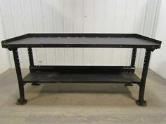 Vintage-Industrial-Steel-4-Leg-Workbench-Table-72-X28-X34-Height-Black