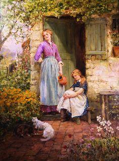 """Feeding Time in the Garden"" by Henry John Yeend King (1855-1924).  British Realist painter.  Love the scene..."