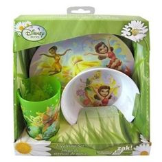 Disney Fairies Tinkerbell Dinnerware Gift Set - Bowl, Cup, Plate: Disney Fairies 3 piece Mealtime Gift Box Set, This is a Extraordinary gift idea for someone who enjiys the disney hit tinkerbell.