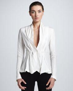 Twill Stretch Tux Shirt, Ivory by Donna Karan at Neiman Marcus.