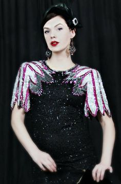 SALE VINTAGE 40s style DRESS / 80s sequin beaded by CedarBelle