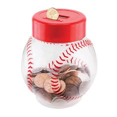 "Baseball Coin Bank This charming plastic baseball bank is a great place to stash loose change, and the electronic counter in the screw-top lid keeps track of exactly how much money you've put in! It's a great gift for kids to help them keep track of their savings. Item weight: 0.4 lb. 6"" diameter x 8"" high. Plastic. Two AA batteries not included"