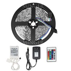 Minger LED Strip Light 16.4ft 300leds RGB SMD 3528 Color Changing Full Kit with 24-keys IR Remote Controller & 2A Power Supply for Home Lighting, Kitchen, Christmas, Indoor Decoration