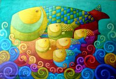 Fish Family by Rodriguez pieces) Action Painting, Sketch Manga, Wal Art, Illustration Art, Illustrations, Art Textile, Colorful Fish, Colorful Paintings, Fish Art