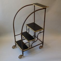"A Set of Art Deco Library Steps Ca1925	 France. 51""H x 29""W x 20""D."