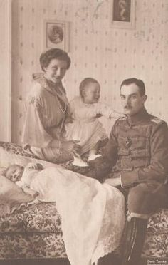 Growing family.  Princess Viktoria Luise and Duke Ernst Augustus III with their 2 eldest children, Prince Ernst Augustus and newborn Prince Georg Wilhelm who would marry a sister of Prince Philip, Duke of Edinburgh.
