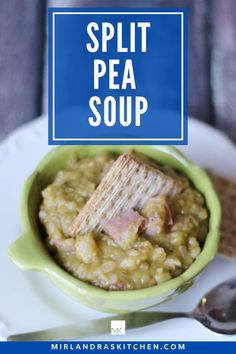 This split pea soup is wonderfully savory and only takes 15 minutes of prep! The ham bone from any leftover ham (save that Christmas ham bone!) gives it lots of flavor as do lots of big chunks of ham. This is a great way to use up holiday ham or make it just because it is a classic, comforting holiday soup.