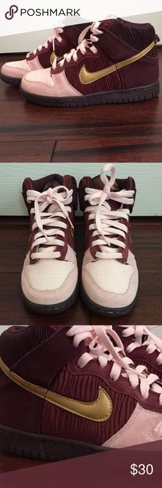 Nike Dunks in Pink, Burgundy and Gold Velvet like material. They are 4.5 in big kids, which is a 6 in women's. Worn only a few times. Nike Shoes Sneakers