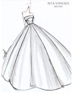 "Exclusive: Get a First Look at the Fall 2019 Bridal Collections - ""The bride I. - Exclusive: Get a First Look at the Fall 2019 Bridal Collections – ""The bride I envision wearing this dress and any dress I design is one who is confident in being – - Gown Sketch Design, Dress Design Drawing, Fashion Drawing Dresses, Fashion Illustration Dresses, Fashion Figure Drawing, Fashion Sketchbook, Art Sketchbook, Fashion Design Drawings, Fashion Sketches"