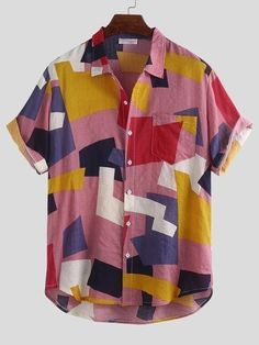 ChArmkpR Mens Summer Hit Color Printed Chest Pocket Turn Down Collar Short Sleeve Loose Shirts Best Online - NewChic Mens Printed Shirts, Printed Shorts, Short Sleeve Blouse, Short Sleeves, Mens Short Sleeve Shirts, Short Sleeve Button Up, Button Down Shirt, Oversize Look, Casual Shirts For Men