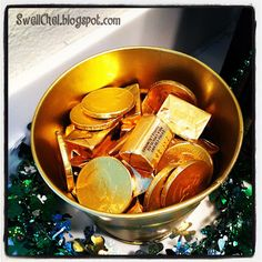 """St. Patrick's Day """"pot of gold"""" ... chocolate gold coins + Hershey nuggets + Rolos!"""