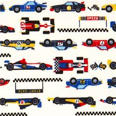 white racing cars fabric for boys from Japan
