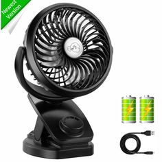 Detachable 3-Speed Adjustable Silent Fan USB Rechargeable Clip-on Car Mini Fan Memory Portable Fan 720 /° Rotatable Pink Office Desktop Fan
