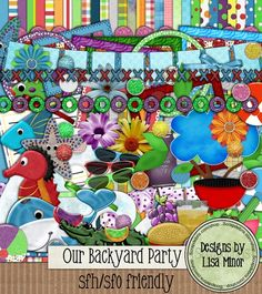 Our Backyard Party Digital Scrapbook Kit 30 12x12 papers, 2 fish, 1 banner, 3 beach balls, 4 borders, 3 bows, 28 brads, 1 branch, 1 broccoli, 1 hamburger, 2 carrots, 1 celery sticky, 1 cherry tomato, 1 cloud, 2 cucumbers, 1 glass of lemonade, 5 flowers, 12 frames, 2 floaties (1 crocodile and 1 whale), grapes, grape soda, grill, journal matte, 1 tied ribbon, 1 salad, 1 seahorse, 2 starfish, 3 pair of sunglasses and 1 wave element.