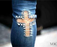 From Milan Fashion Week September 2012 Safety Pin Art, Safety Pin Crafts, Safety Pins, Diy Jeans, Punk Fashion, Denim Fashion, Milan Fashion, Diy Clothes Bag, Punk Mode