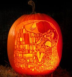 "Pumpkin Carvings Inspired by Famous Art Gustav Klimt ""The Kiss"" - pumpkin carvingGustav Klimt ""The Kiss"" - pumpkin carving Escher Drawing Hands, Escher Drawings, The Kiss, Linolium, Pumpkin Art, Pumpkin Carvings, Carving Pumpkins, Pumpkin Stencil, Pumpkin Spice"