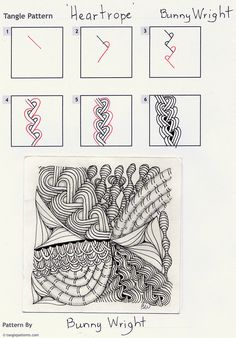 Online instructions for drawing Bunny Wright's Zentangle® pattern: Heartrope.