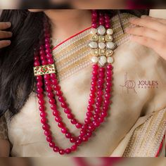 Bespoke and whimsical, this alluring pink beaded necklace with precious stones and kundans, takes the glam quotient to the top-of-the-line. At Joules by Radhika.  #JoulesByRadhika #Jewellery #Necklace #MakeAStatement #Neckpiece #StatementNecklace #Beads #Pink #Alluring #Whimsical #SemiPrecious #Luxurious #WeddingJewellery #DesignerJewellery #IndianDesigner #LoveForPink #BrightPink #Glam #Instalike #Instalove #Mumbai #India