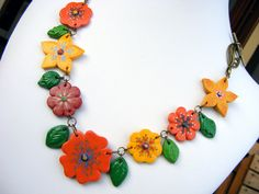 Colorful Flower Bib Necklace Polymer Clay Garden via Etsy.